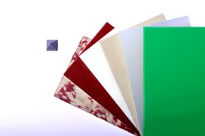 Fächer, Kunststoffe, Platten, grün, grau, bunt