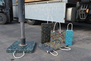 LKW, Gabelstapler, Kunststoffplatten bunt, Kordel