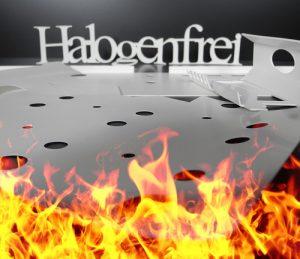 Schriftzug Halogenfrei, Flammen, Flammhemmend, Weißes Material mit Löchern, Fertigteile