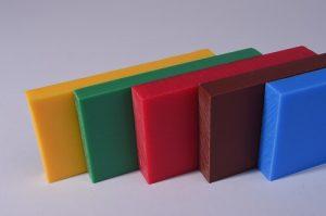 Kunststoffblock gelb grün rot braun blau, Strahlenschutz